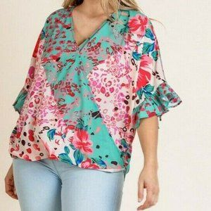 Umgee Top Floral Animal Ruffle Sleeve Plus Size